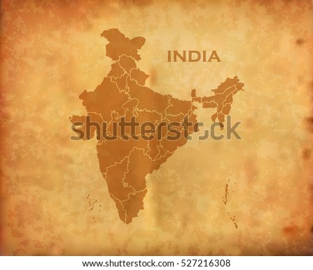 indian map on vintage grunge...