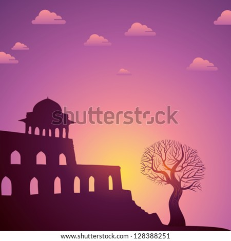 Indian monuments vector on sunset