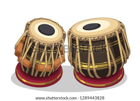 Indian musical instrument tabla vector illustration