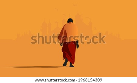 Indian old man in orange and red clothes walking towards birds, ancient buildings and temples. Doesn't want to give up. COVID-Crisis concept. Horizontal vector illustration. Orange Background Foto stock ©