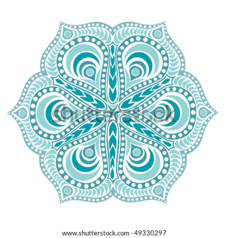 Indian ornament, kaleidoscopic floral pattern, mandala.