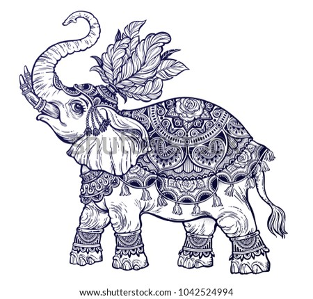 Indian ornate ethnic circus boho elephant with feathers. African tribal spiritual animal. Can be a tattoo, coloring book, textile, prints, phone case, greeting card. Isolated vector illustration.