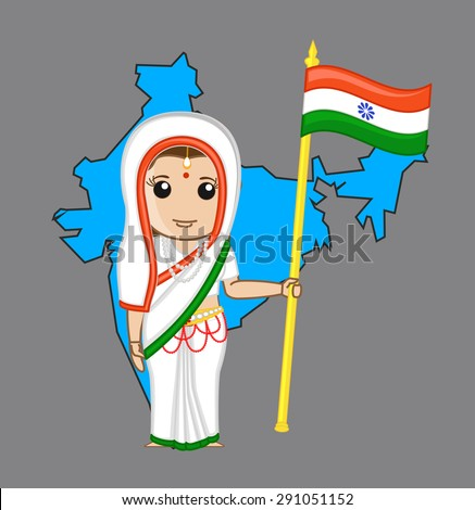 indian patriotic woman holding