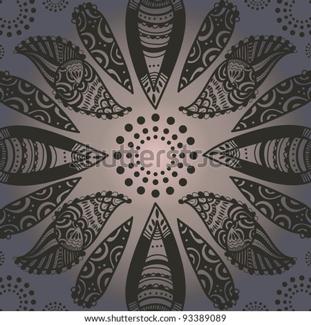 indian pattern which looks like black henna drawing - stock vector