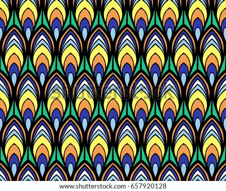 Indian Peacock Feathers Pattern Vector Seamless Bright Summer Texture Festive Birds Background Print For