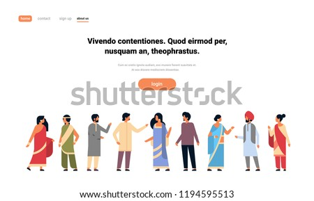 indian people group wearing national traditional clothes hindu man woman communication concept male female cartoon character full length isolated horizontal copy space flat vector illustration