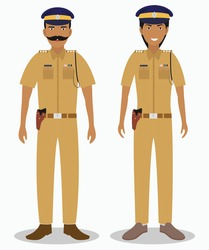 Indian police isolated on white background. Set of policeman and policewoman standing together.