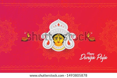 Indian Religion Festival Durga Puja Background Template Design with Goddess Durga Face Illustration