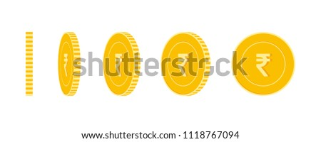 Indian rupee coins set, animation ready. INR yellow coins rotation. India metal money in different positions isolated. Exotic cartoon vector illustration.
