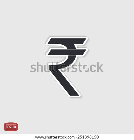 Indian rupee currency symbol. Flat design style. Made in vector illustration