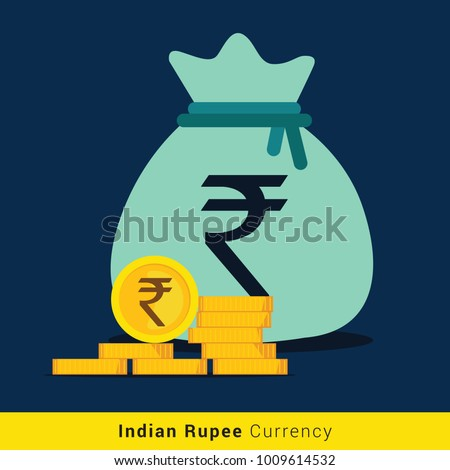 Indian Rupee Money bag icon with sign