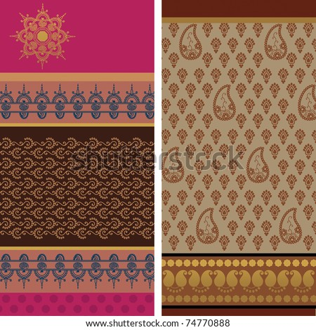 Indian Sari Borders, detailed and easily editable.