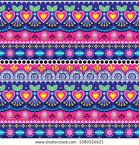 Indian seamless vector pattern, Pakistani truck art design, navy blue and pink ornament with flowers and abstract shapes. Colorful repetitive Diwali background inspired by traditional lorry art