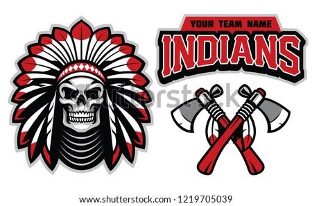indian skull mascot set
