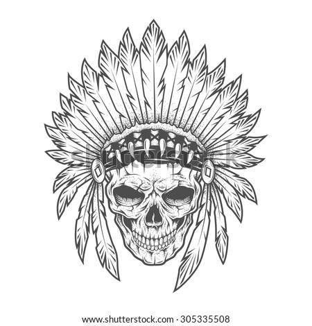 Indian Chief Skull Vector Download Free Vector Art