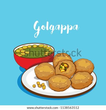 indian Street food vector. golgappa