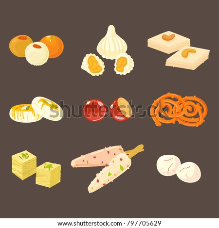 indian sweets icons isolated on