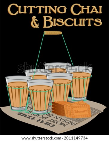 Indian Tea in glass with metal frame holder, glucose biscuits and old newspaper. Photo stock ©