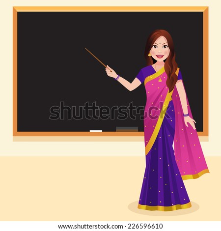 indian teacher wearing a saree