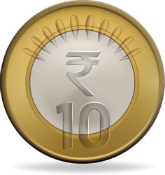 Indian ten rupee coin vector illustration