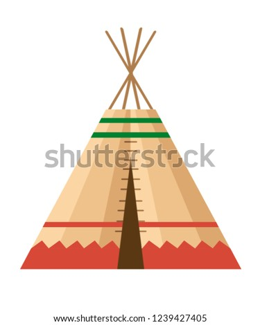 Indian tent or wigwam. Dwelling of north nations of Canada, Siberia, North America. Leather House. Flat vector Illustration on a white background.