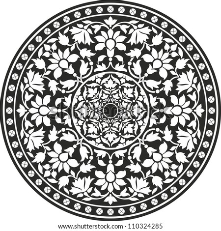 Indian traditional pattern of black and white - flower mandala