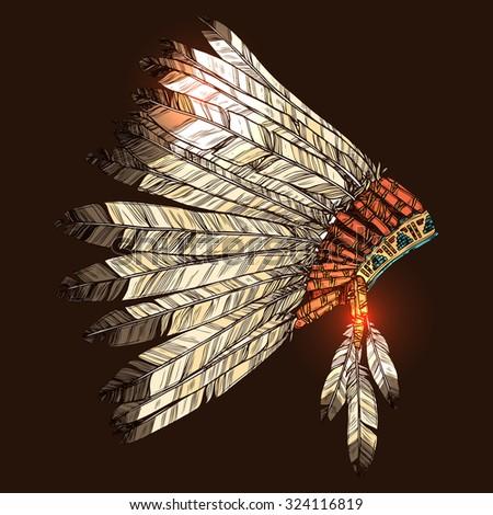 indian tribal headdress  color