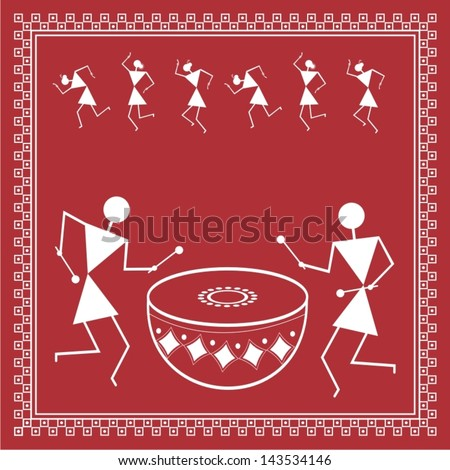 Indian Tribal Painting. Warli Painting Stock Vector ...