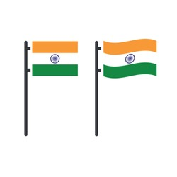 Indian tricolor flag stable and waving on flag pole. Stock Vector illustration isolated on white background.