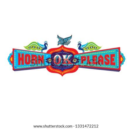 Indian truck art, Horn Ok Please - Vector