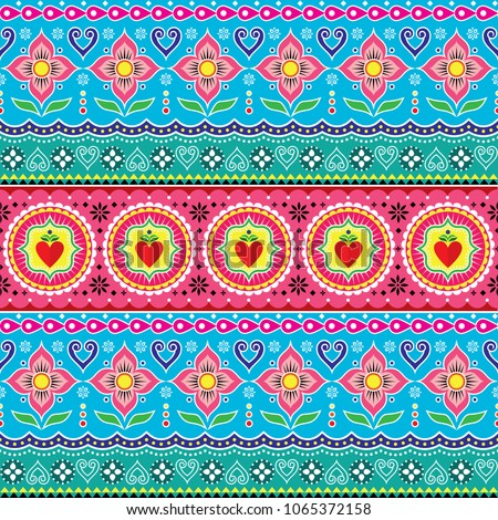 Indian trucks art seamless vector pattern, Pakistani colorful truck floral design with lotus flower, leaves and abstract shapes. Colorful repetitive Diwali background inspired by traditional lorry an