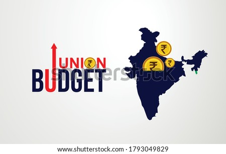 Indian Union Budget, India economy, finance icon, Indian rupee coin with Indian map vector illustration, typography Сток-фото ©