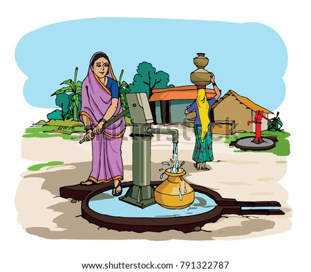indian village with hand pump