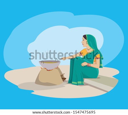 Indian village woman cooking food with traditional way, Village oven - Vector