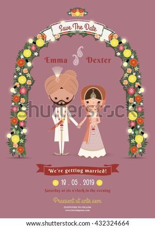 Indian Wedding Bride & Groom Cartoon Romantic Invitation Card on Dark Pink Background