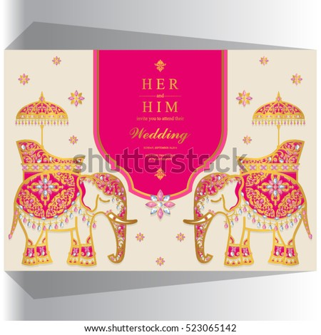 Indian wedding card, Elephant gold  pattern and crystals color.