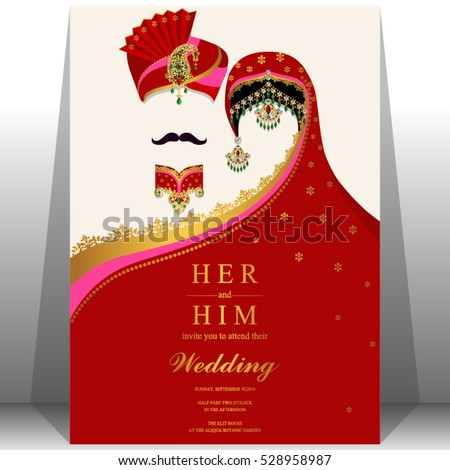 Vector Images Illustrations And Cliparts Indian Wedding Card Gold