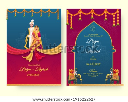 Indian Wedding Invitation Card Template Layout With Hindu Couple And Event Details.