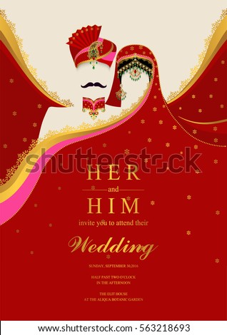 Vector images illustrations and cliparts indian wedding invitation indian wedding invitation card templates with gold patterned and crystals on paper color stopboris Images