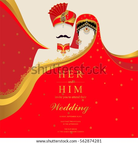 Indian wedding Invitation card templates with patterned and crystals on paper color.