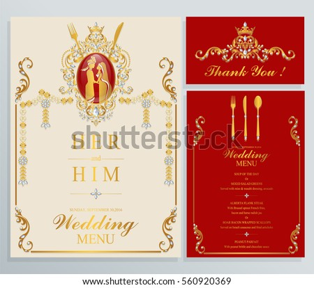 Indian Wedding Menu Card Templates With Gold Patterned And Crystals On Paper Color