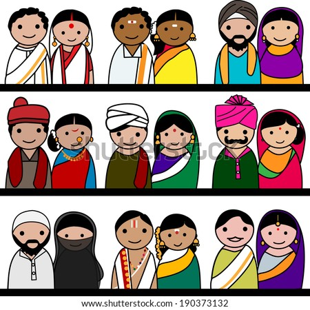 indian women and men vector