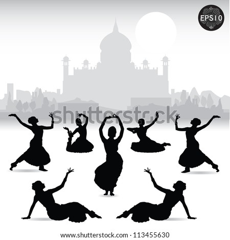 Indian women dancing In front of Taj mahal, Vector, Illustrator
