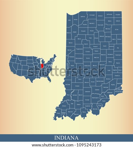 indiana county map with names