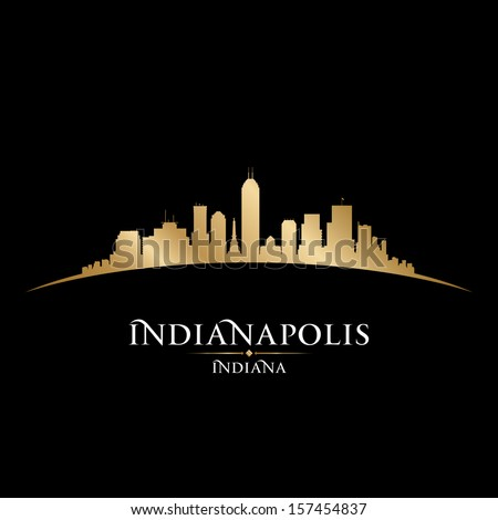 Indianapolis Indiana city skyline silhouette. Vector illustration