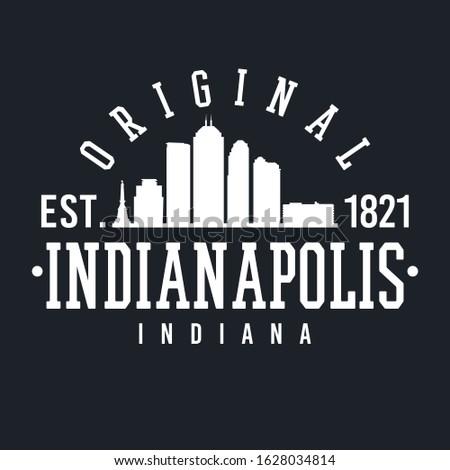 Indianapolis Indiana Skyline Original. Logotype Sports College University. Illustration Design Vector.