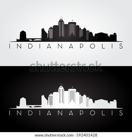 Indianapolis USA skyline and landmarks silhouette, black and white design, vector illustration.