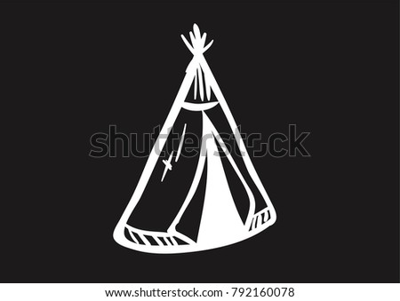 Indians Tent Doodle vector icon flat black & Tipi and Native American Vector Icons - Download Free Vector Art ...