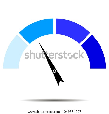 Indicator blue with pointer needle. Index and pointer, arrow indicator, arrow car indicator, measure and performance indicators, vector illustration