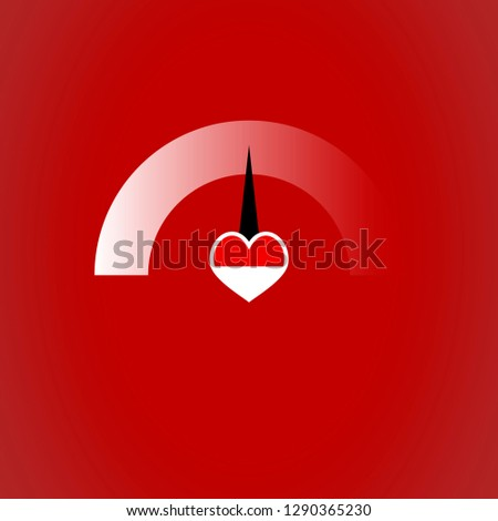 Indicator for measure love isolated on red background. Love of indicator level, measurement rating. Vector illustration
